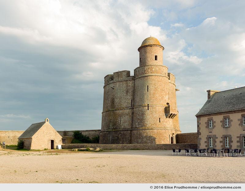 Chapel and Vauban Tower situated inside the fortifications, Tatihou Island, Saint-Vaast-la-Hougue, France.