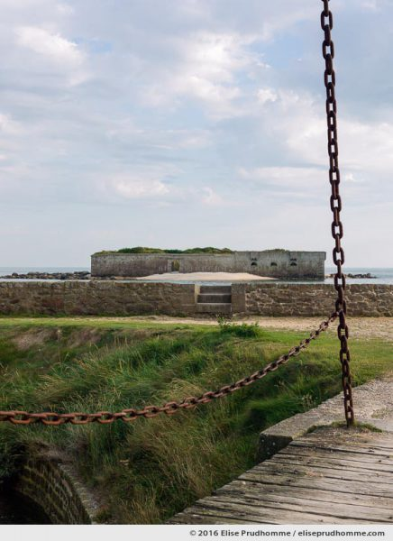 View from the drawbridge entrance to the Vauban Fort, Tatihou Island, Saint-Vaast-la-Hougue, France.