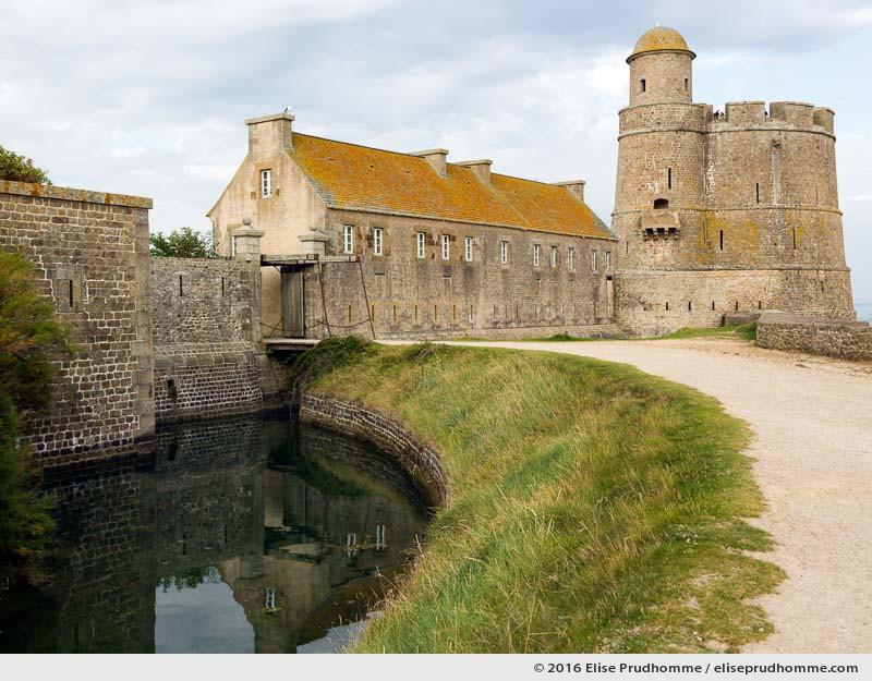 Drawbridge entrance to the medieval Fort Vauban with barracks and fortifications, Tatihou Island, Saint-Vaast-la-Hougue, France