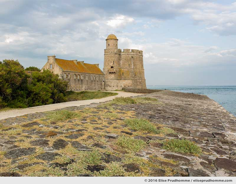 View of the Vauban Fort and Tower from the retaining sea wall, Tatihou Island, Saint-Vaast-la-Hougue, France