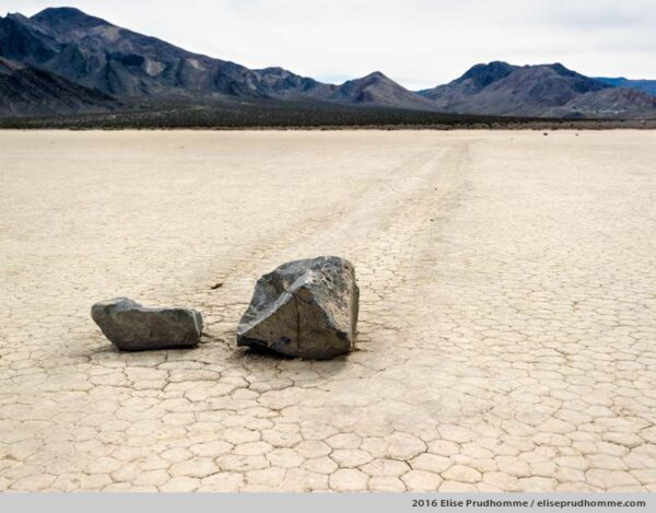 Sliding rocks in Racetrack Valley, Death Valley National Park, California, USA, 2016 (series Wild Wild West) by Elise Prudhomme.