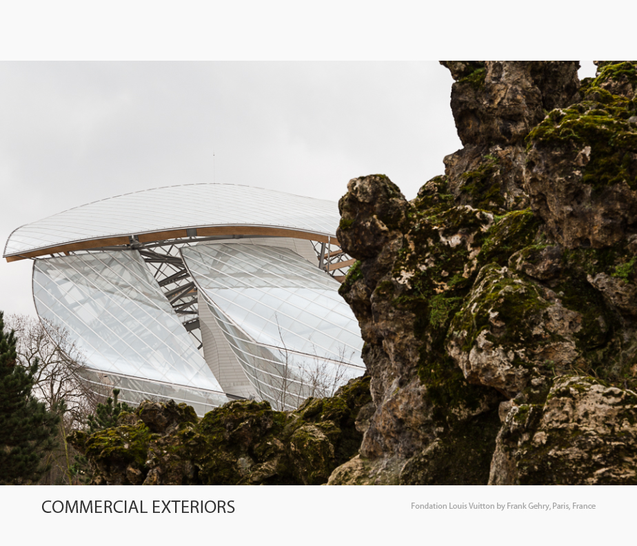 Selected photographs of commercial and institutional exteriors in the Architecture Portfolio of Elise Prudhomme