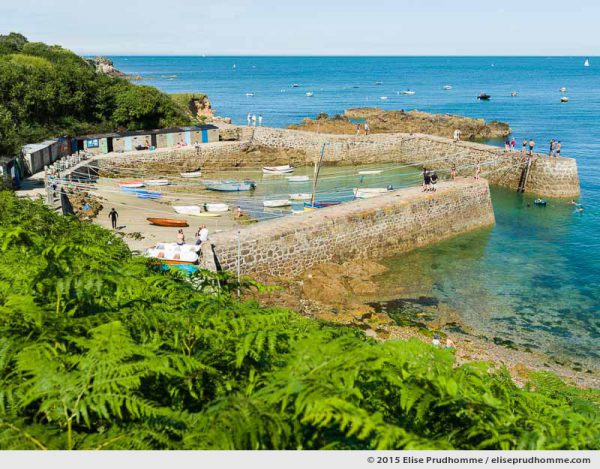 Overview of Port Racine, the smallest port in France, Saint-Germain-des-Vaux, Lower Normandy, France