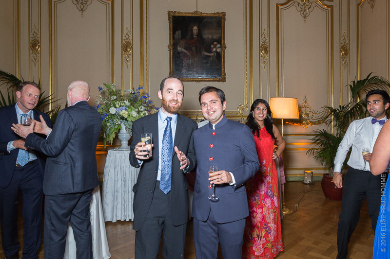 After the formal dinner at wedding reception at the Cercle de l'Union Interalliee, Paris, France.