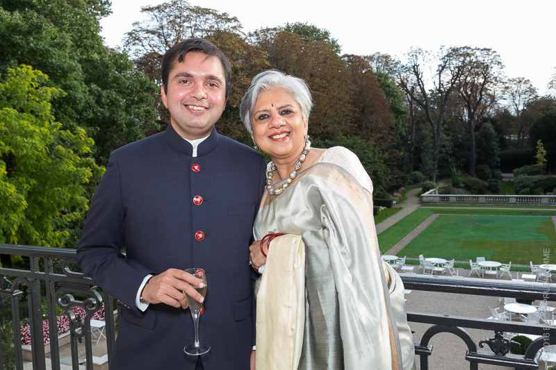Groom and his mother during the wedding reception at the Cercle de l'Union Interalliée, Paris, France.