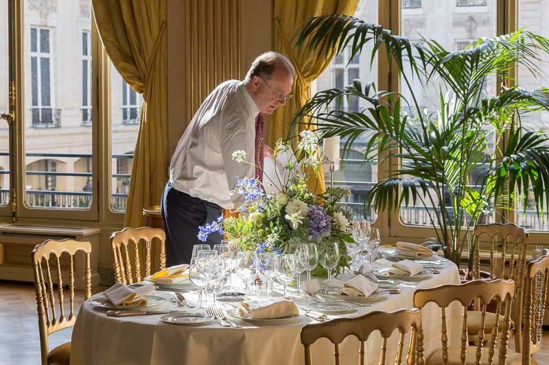 Table setting for formal dinner at wedding reception at the Cercle de l'Union Interalliée, Paris, France.