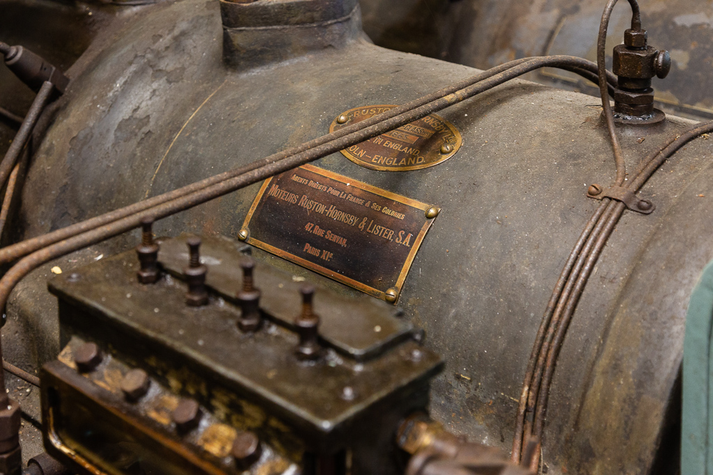 Detail of the motor fabricated by Ruston & Hornsby, UK at the Saint Gabriel Flour Mill. Restoration of the Saint-Gabriel Flour Mill, Saint-Gabriel-Brecy, France.