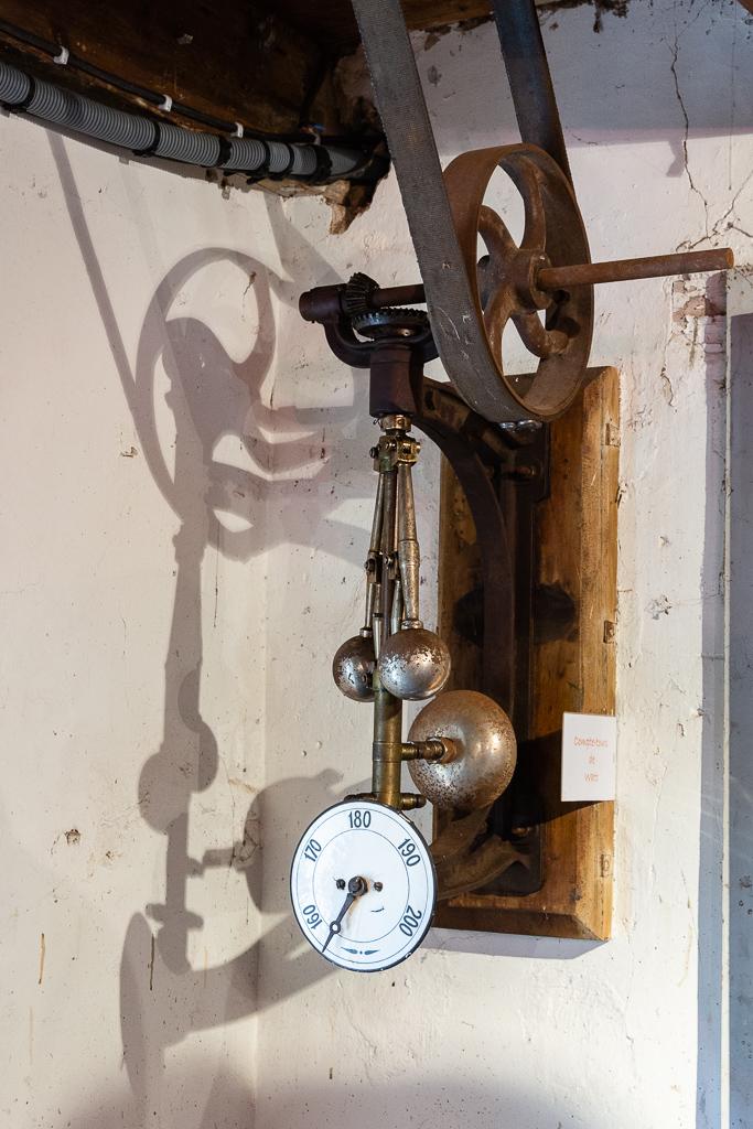This Watt Ball Regulator monitors the flow of water entering the hydraulic turbine. Restoration of the Saint-Gabriel Flour Mill, Saint-Gabriel-Brecy, France.