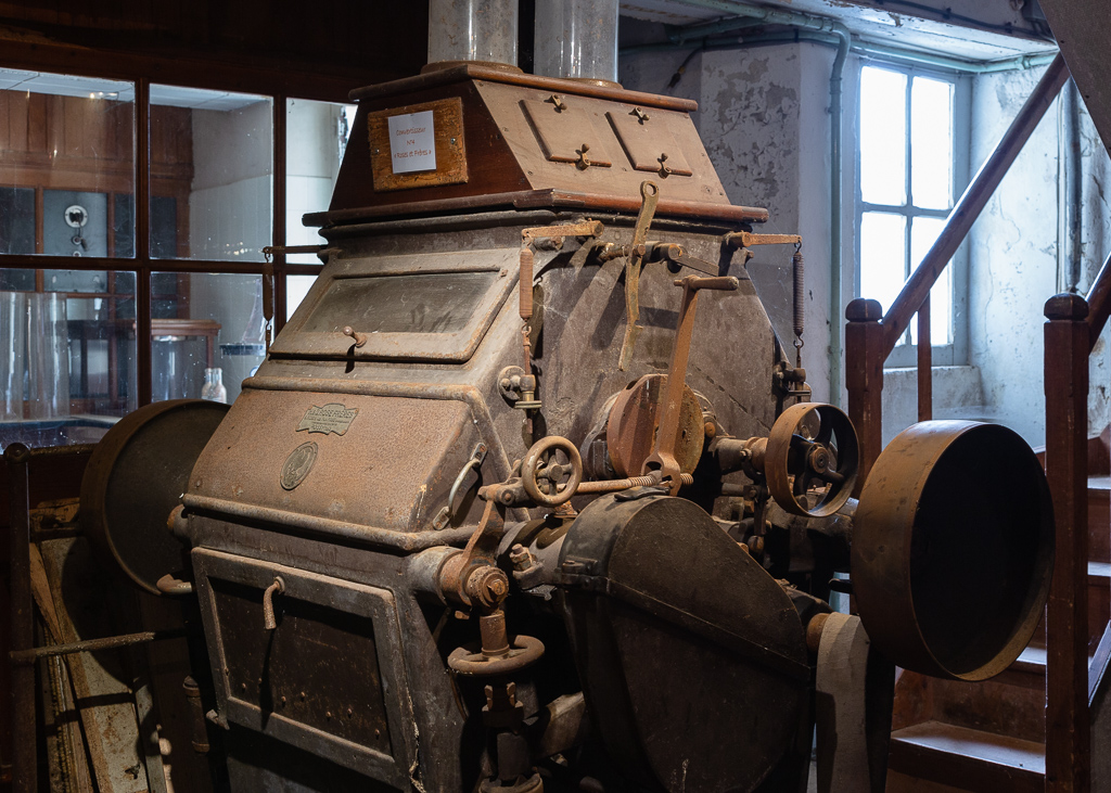 Unrestored roller mill and laboratory at Saint-Gabriel Flour Mill.  Restoration of the Saint-Gabriel Flour Mill, Saint-Gabriel-Brecy, France.