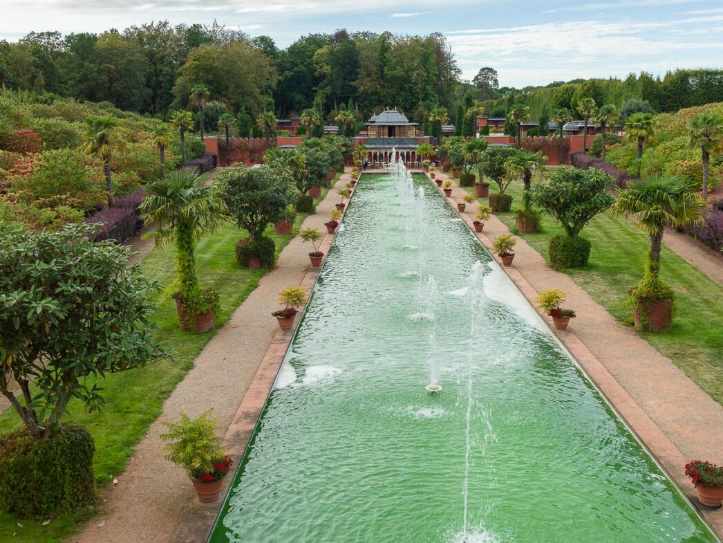 Overview of the water garden, Palace of Dreams, Chateau du Champ de Bataille, Normandy, France