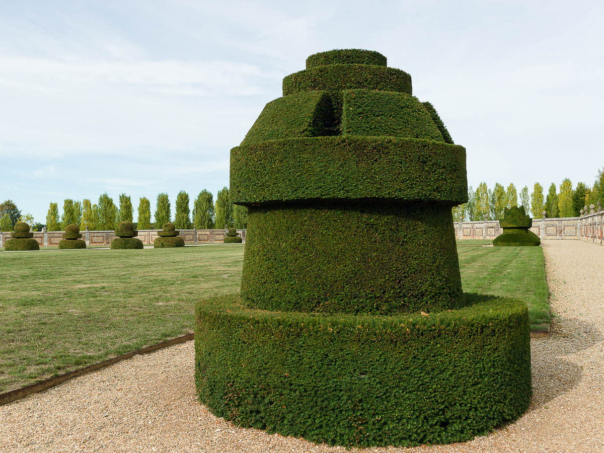 The Castle topiary in the shape of chessmen, Chateau du Champ de Bataille, France