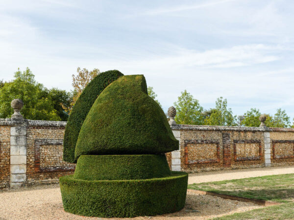 The Horse topiary in the shape of chessmen, Chateau du Champ de Bataille, France
