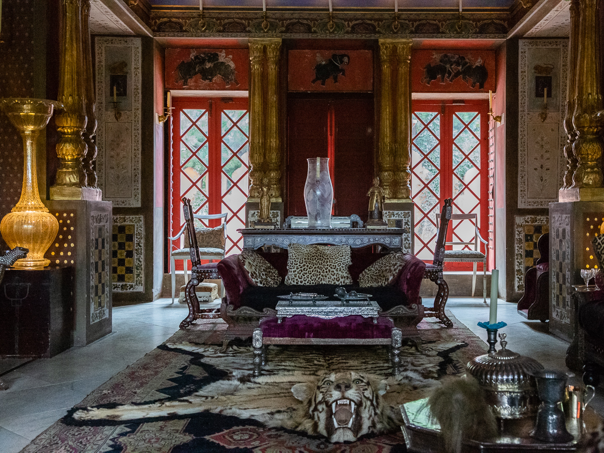 Tiger skin in the Palace of Dreams, Chateau du Champ de Bataille, Normandy, France