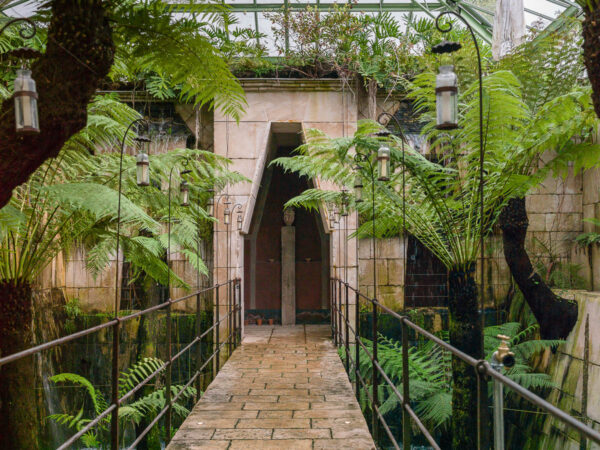 Tropical greenhouse entrance, Château du Champ de Bataille, Normandy, France