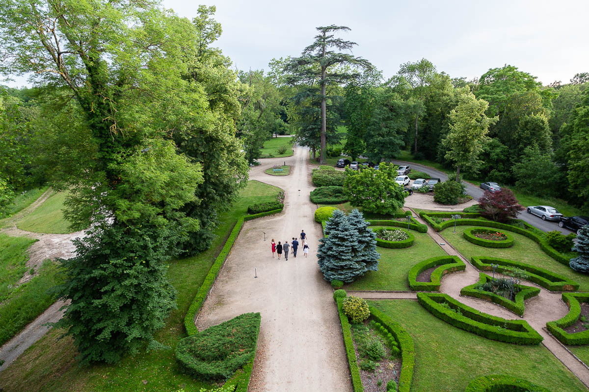View of the formal entrance garden from the turret of Chateau de Maulmont near Vichy, France.