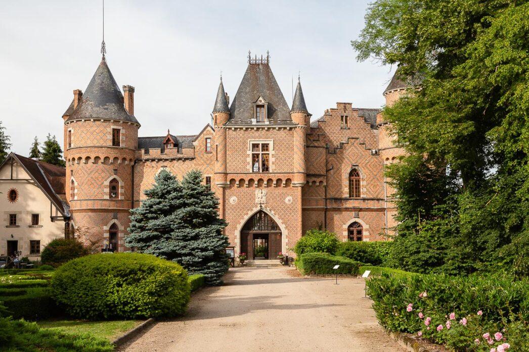Entrance to the Château de Maulmont, Saint-Priest-Bramefant, France.