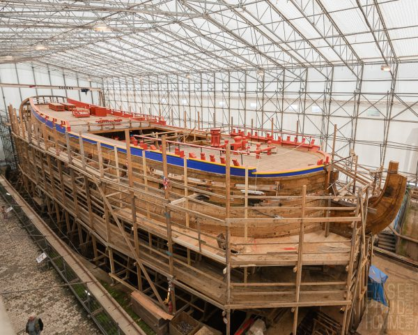 L'Hermione, a replica of the frigate Lafayette sailed in 1780 to join George Washington, under construction in Rochefort, France
