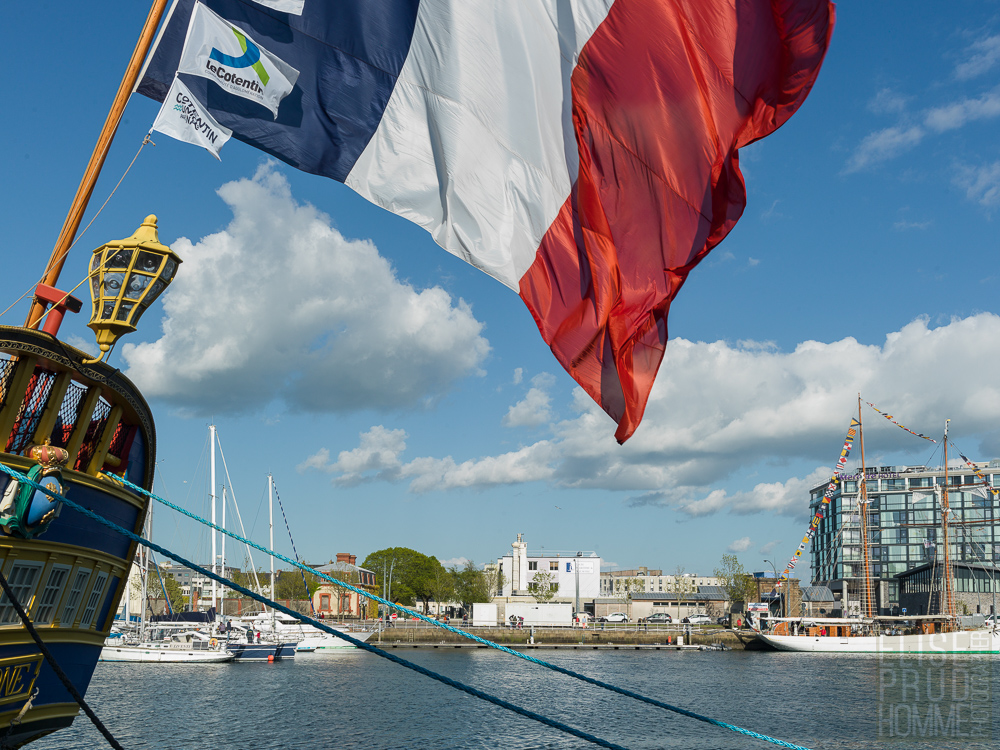 Replica of French frigate l'Hermione docked in the Port of Cherbourg, Normandy, France during the Normandy Liberty tour May 2019.