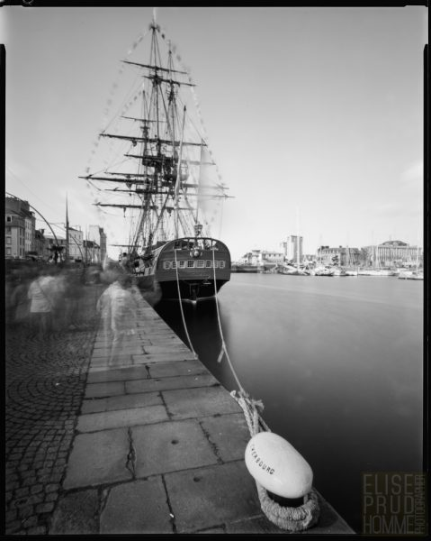 Replica of French frigate l'Hermione docked in the Port of Cherbourg, Normandy, France taken with a large format pinhole camera.