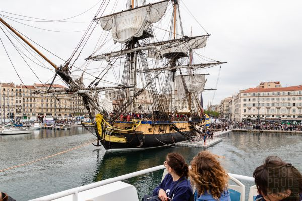 L'Hermione, a replica of the frigate Lafayette sailed in 1780 to America, docked in the Old Port of Marseille, France.