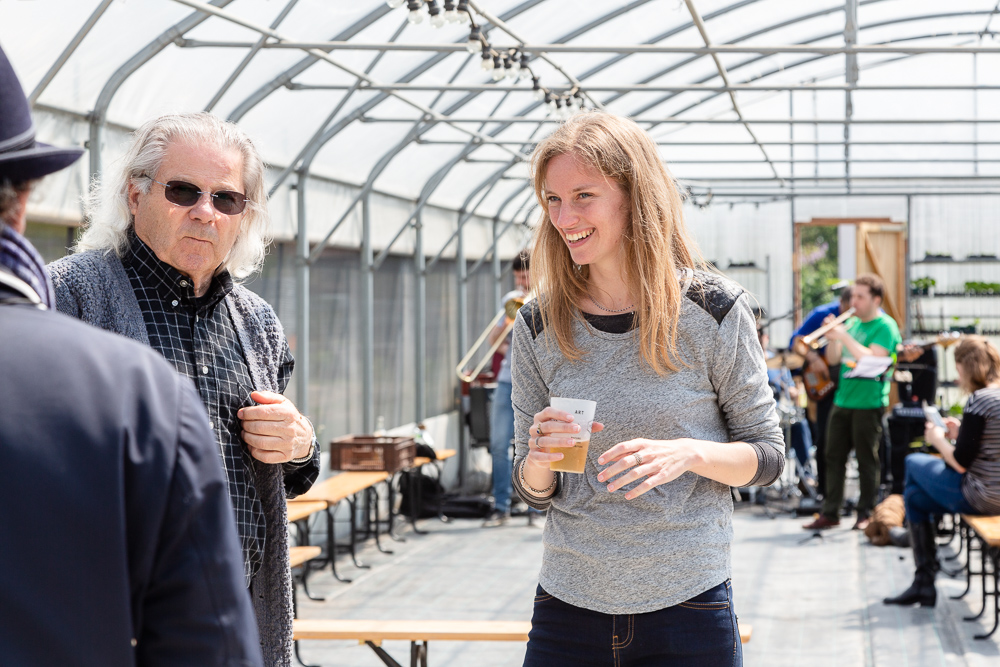 Mona Prudhomme and René Kersanté in the greenhouse of the Sensitive Zone during the inauguration of the Urban Farm of Saint Denis on 11 May 2019.  L'inauguration de la Ferme Urbaine de Saint-Denis le 11 mai 2019.  Zone Sensible / Parti Poétique et la Ferme Ouverte de Saint-Denis.