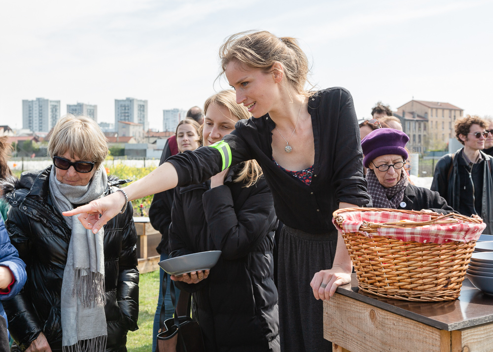 "Mona Prudhomme presents dishes prepared by the Food Truck ""la Récho"" at the Sensitive Zone - Urban Farm of Saint-Denis on 9 April 2019."