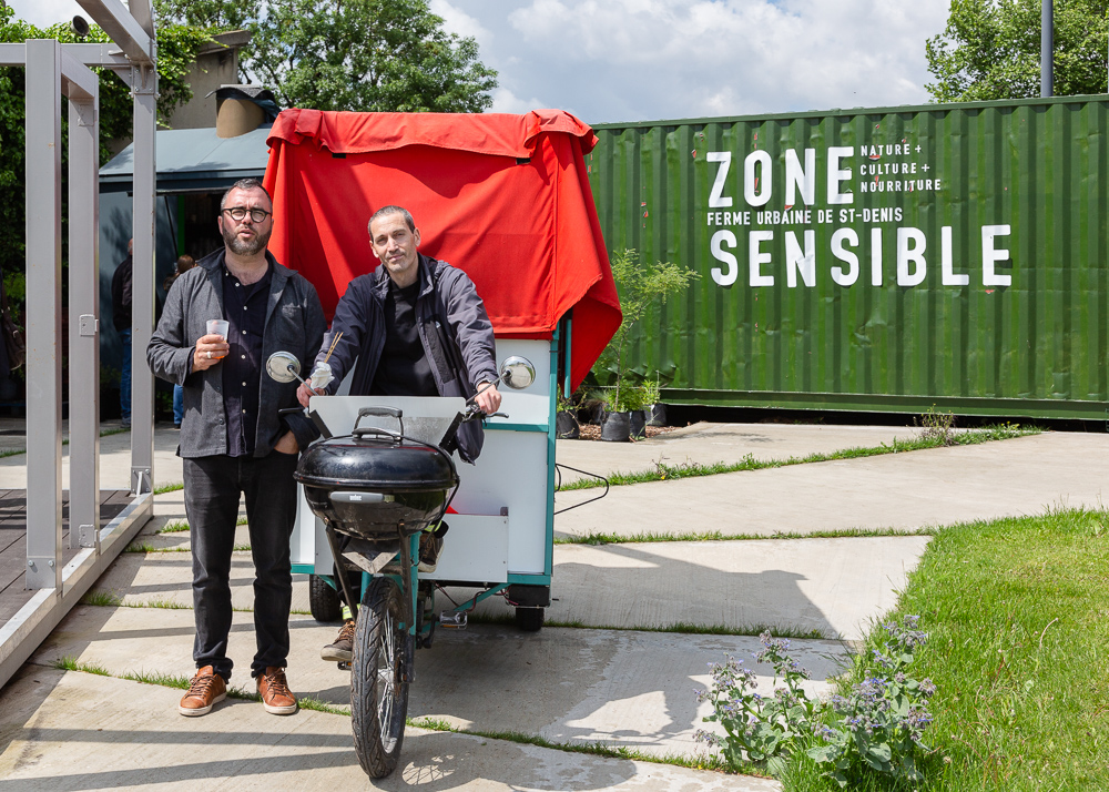 Olivier Darné (left) and Association APPUI at the inauguration of the Urban Farm of Saint Denis on 11 May 2019.  L'inauguration de la Ferme Urbaine de Saint-Denis le 11 mai 2019.  Zone Sensible / Parti Poétique et la Ferme Ouverte de Saint-Denis.