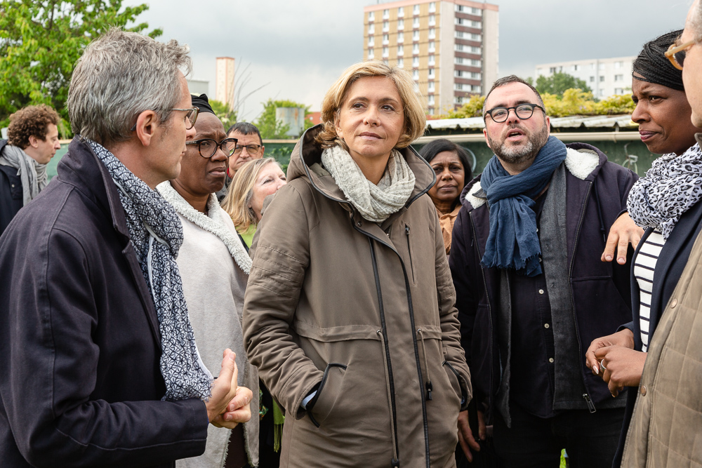 President of the IDF region Valérie Pécresse with Olivier Darné (middle), Mayor Laurent Russier (right) and President of the Departmental Council of Seine-Saint-Denis Stéphane Troussel (left) at the official inauguration on May 11, 2019.  L'inauguration de la Ferme Urbaine de Saint-Denis le 11 mai 2019.  Zone Sensible / Parti Poétique et la Ferme Ouverte de Saint-Denis.