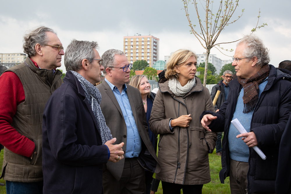 IDF Regional President Valérie Pécresse visits the Open Farm of Saint-Denis guided by Xavier and Dominique Laureau alongside Mayor Laurent Russier and Departmental Council President Stéphane Troussel at the official inauguration on May 11, 2019.