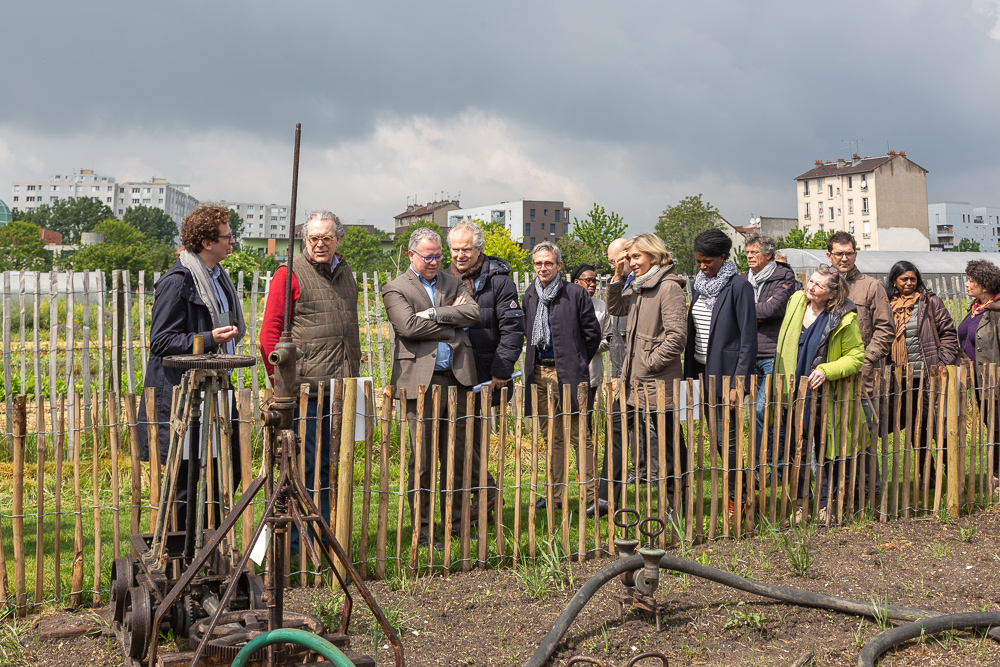 President of the IDF region Valérie Pécresse visits the Open Farm of Saint-Denis with Mayor Laurent Russier and President of the Departmental Council of Seine-Saint-Denis Stéphane Troussel at the official inauguration on May 11, 2019.