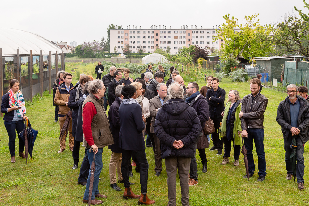 President of the IDF region Valérie Pécresse visits the Sensitive Zone guided by Olivier Darné alongside Mayor Laurent Russier and President of the Departmental Council of Seine-Saint-Denis Stéphane Troussel at the official inauguration on May 11, 2019.  L'inauguration de la Ferme Urbaine de Saint-Denis le 11 mai 2019.  Zone Sensible / Parti Poétique et la Ferme Ouverte de Saint-Denis.