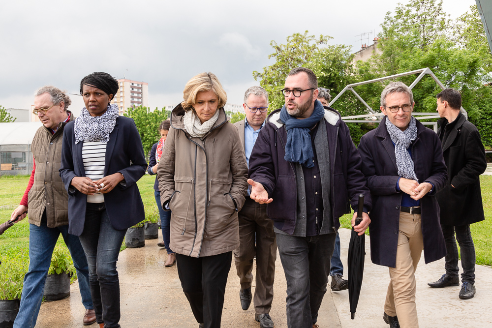IDF Regional President Valérie Pécresse visits the Sensitive Zone guided by Olivier Darné alongside Mayor Laurent Russier and Departmental Council President Stéphane Troussel at the official inauguration on May 11, 2019. L'inauguration de la Ferme Urbaine de Saint-Denis le 11 mai 2019. Zone Sensible / Parti Poétique et la Ferme Ouverte de Saint-Denis.