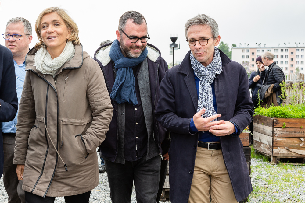IDF Regional President Valérie Pécresse with Olivier Darné (middle), Mayor Laurent Russier (right) and Departmental Council President Stéphane Troussel (left) at the official inauguration on May 11, 2019.  L'inauguration de la Ferme Urbaine de Saint-Denis le 11 mai 2019.  Zone Sensible / Parti Poétique et la Ferme Ouverte de Saint-Denis.