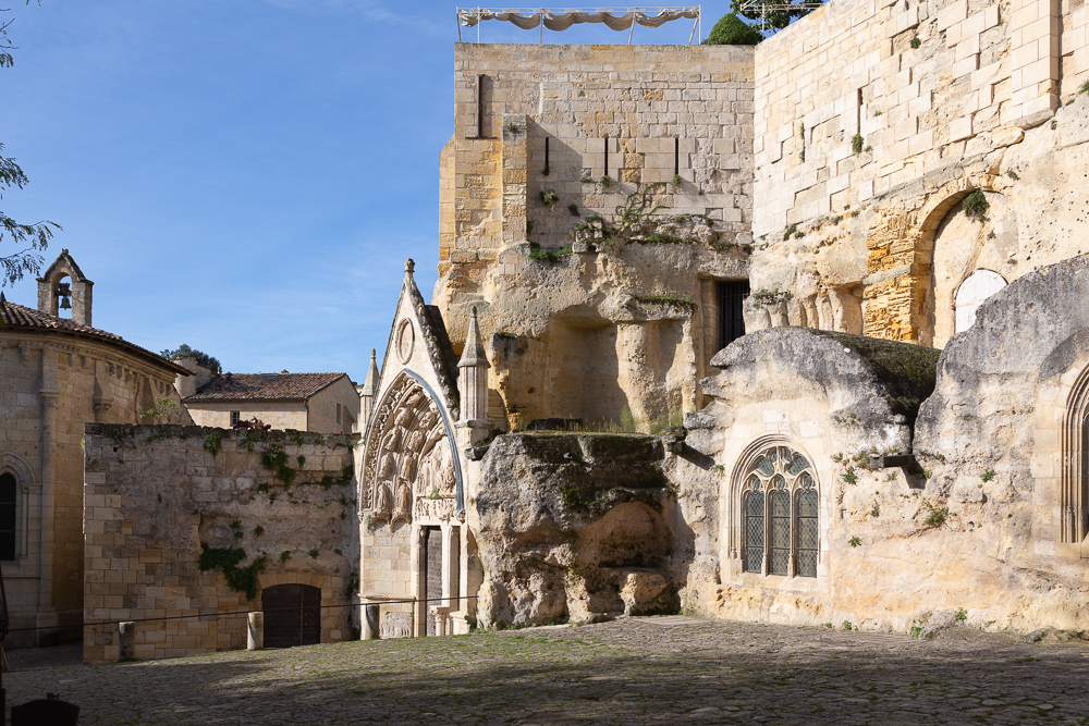 Overview of the the rock-carved sanctuary, or Monolith, carved out in the 11th century, Place du Marche, Saint-Emilion, Gironde, France.