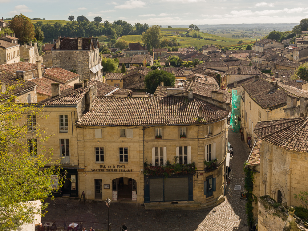 View looking out over Saint-Emilion and beyond, Bordeaux region, Department of the Gironde, France.