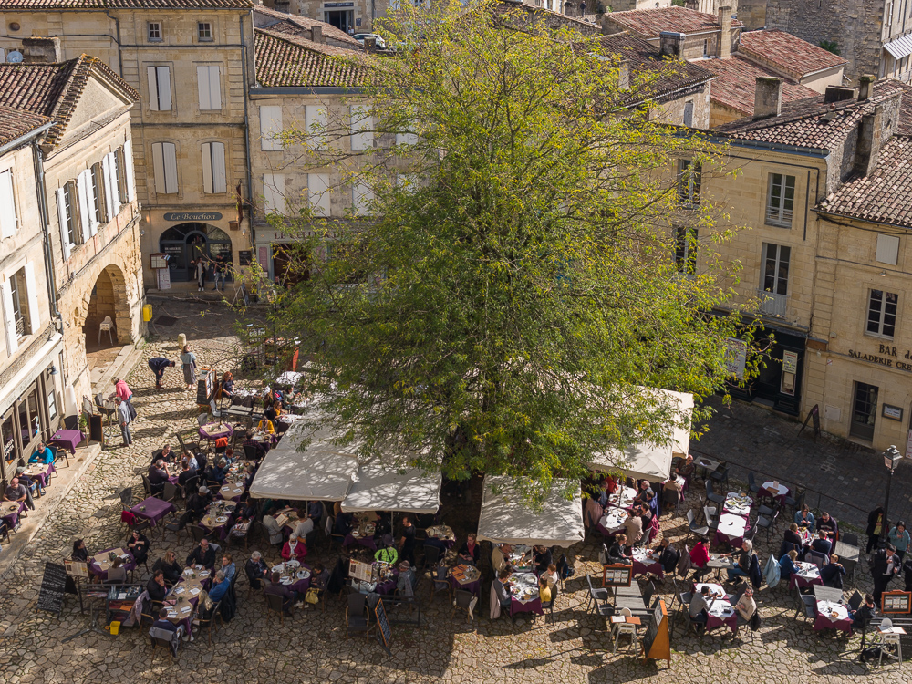 Looking down on the Place du Marche in the medieval town of Saint-Emilion, Bordeaux region, Department of the Gironde, France.