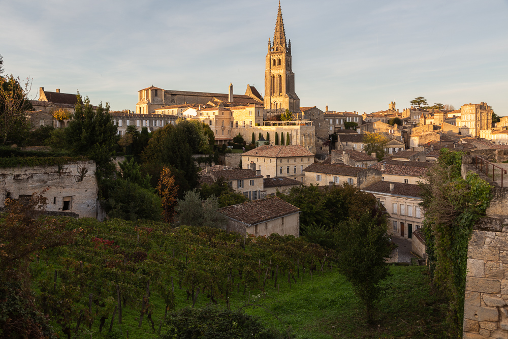 The town of Saint-Emilion with the Collegiale Church and spire as seen from the King's Tower, Bordeaux, Region of the Gironde, France.