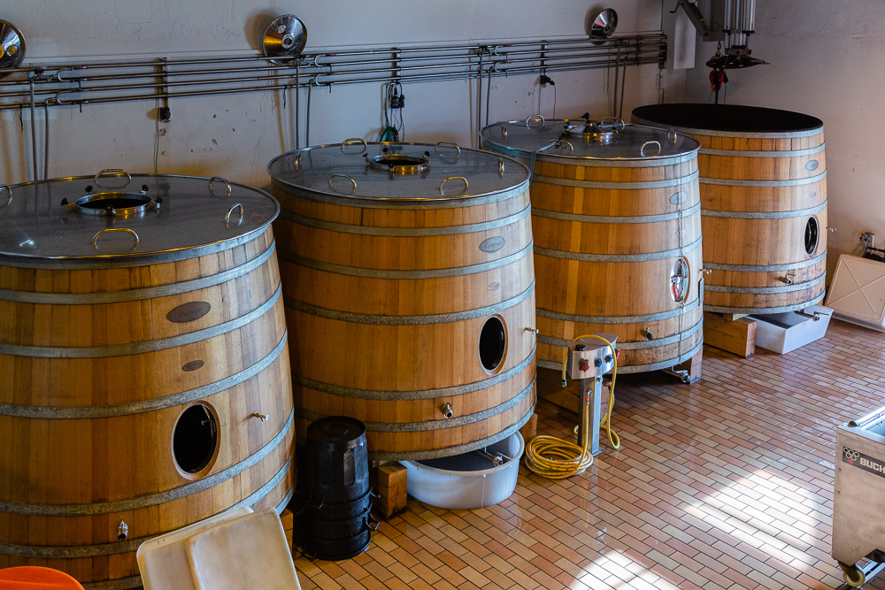 Soon to be replaced wooden fermentation tanks for Merlot wine, Wine Estate Chateau Pavie Macquin, Saint Emilion, Bordeaux region, Gironde, France.